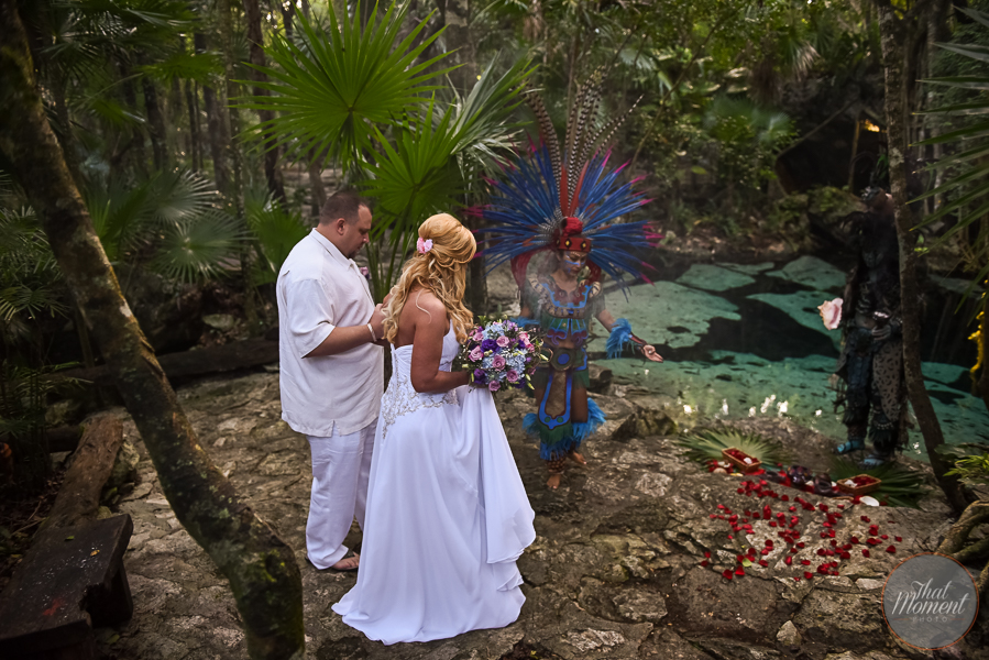 Mayan ceremony in cenote