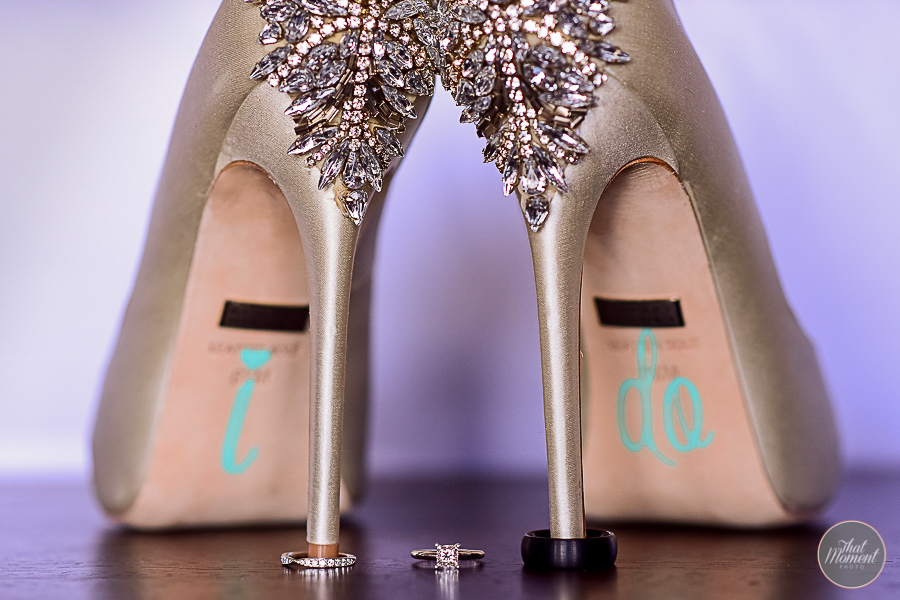Rings and shoes of the bride