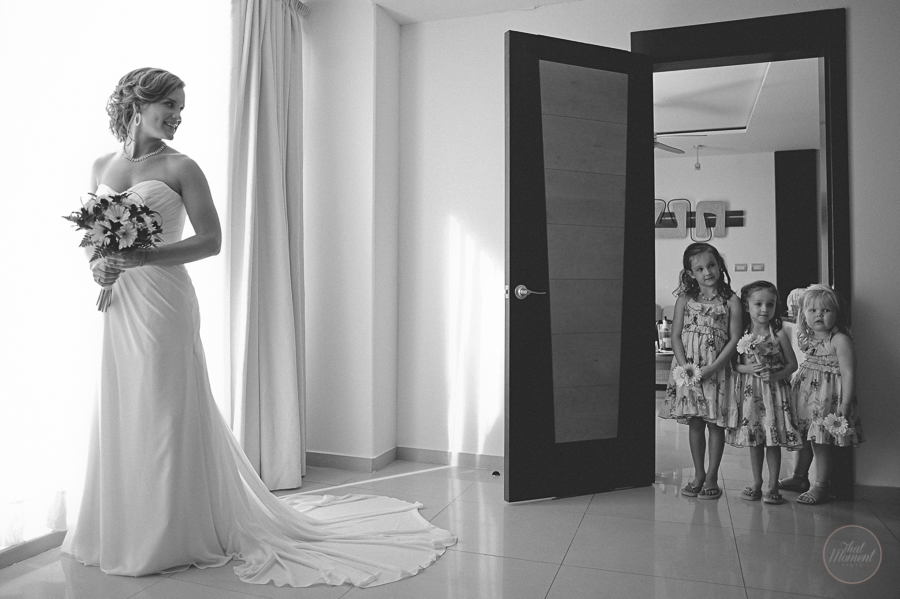bride with children in the room