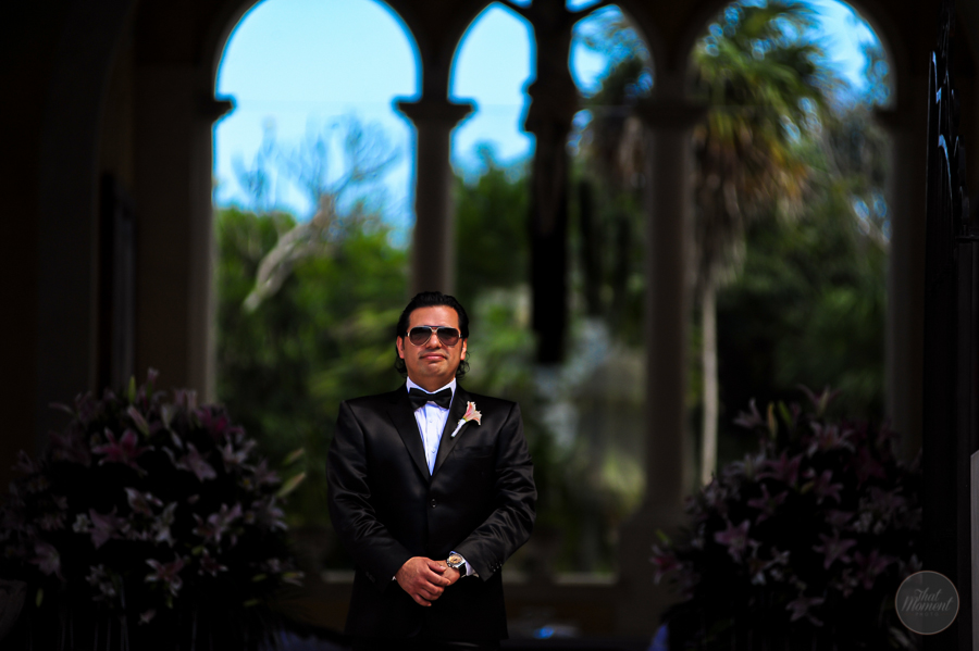 groom waiting with his suit